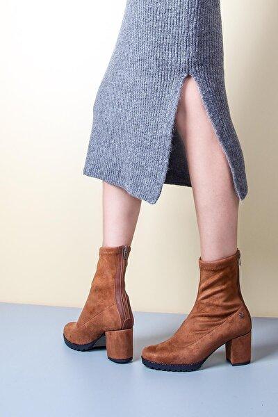 Taba Süet Bacağı Saran Topuklu Kadın Bot