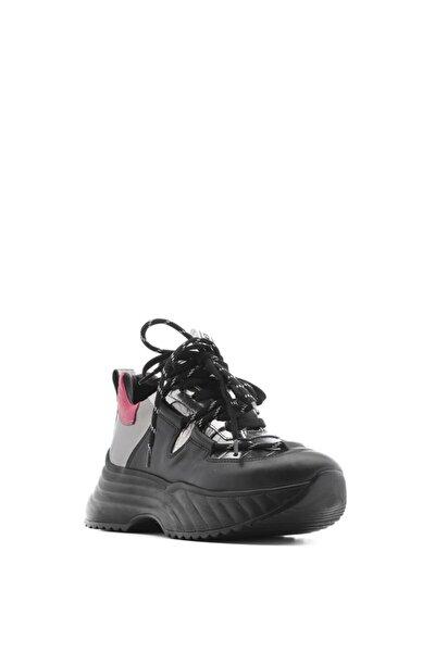 Senior Bayan Spor Ayakkabı Siyah Deri-çelik Kroko-çelik Ayna