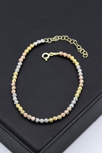 Dorika Modeli Altın Yaldızlı Roz Gümüş Bileklik 162