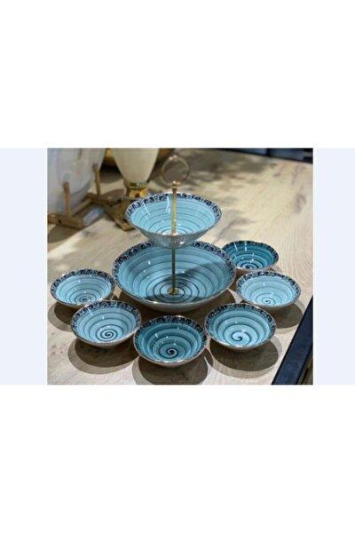 Porselen 8 Parça Yaldızlı Yeşil Çerez/sunum Tabağı Acr580