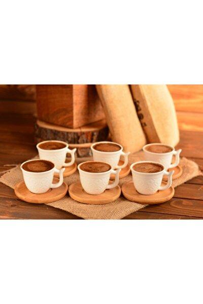 Bambu Tabaklı 6 Lı Kahve Fincan Takımı Beyaz