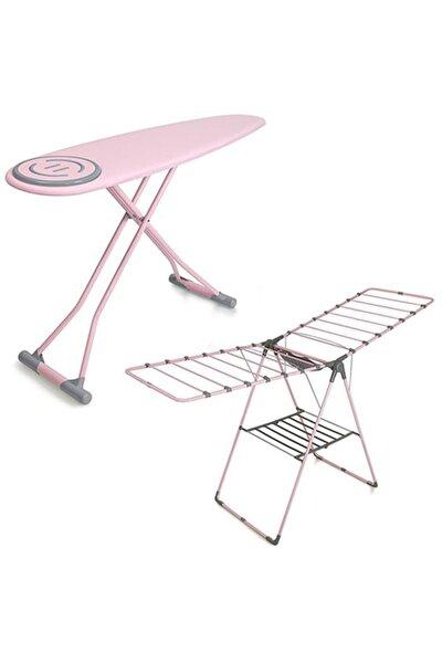 Perilla Premium Ütü Masası - Mandal Sepetli Kurutmalık-pembe Set