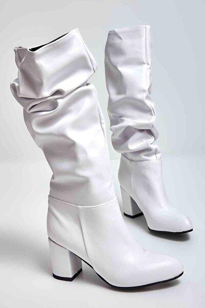 Beyaz Kadın Çizme M0503715009
