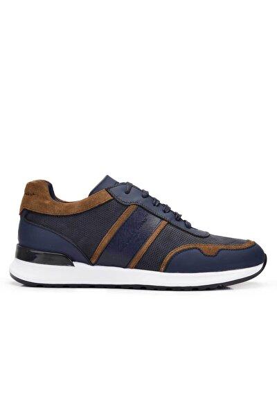 Hakiki Deri Lacivert Sneaker Erkek Ayakkabı -11715-