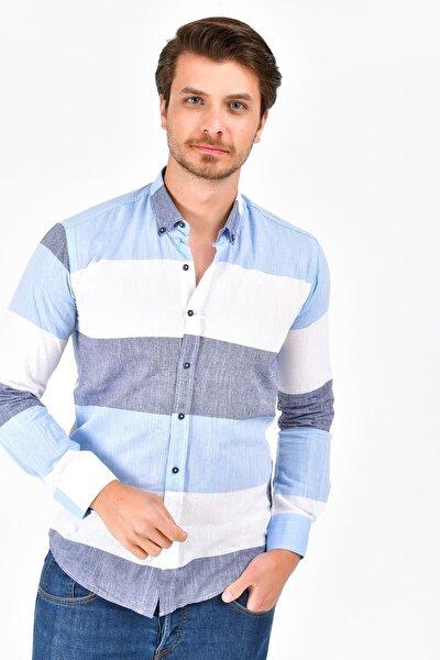 Erkek Mavi Uzun Kollu Pano Desen Normal Fit Keten Gömlek