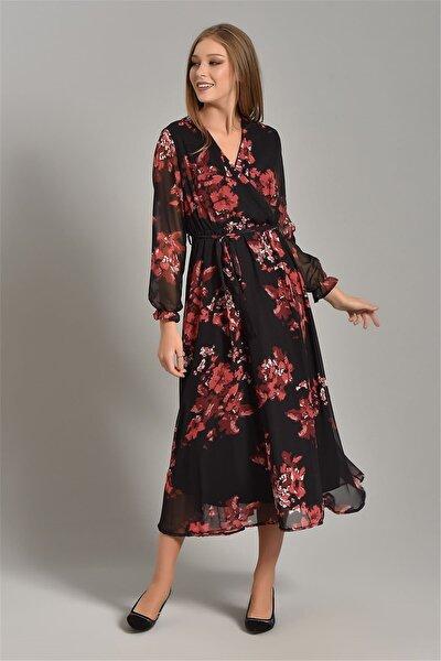Siyah Çiçek Desenli Şifon Elbise