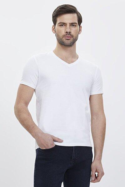 Erkek Slim Fit Beyaz T-shirt Lf2003809