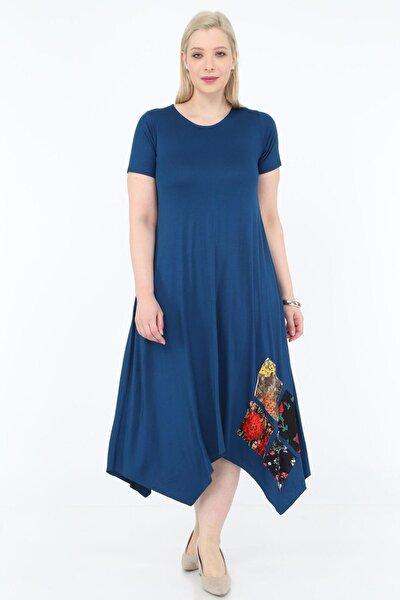 Kadın Büyük Beden Asimetrik Kesim Lacivert Elbise