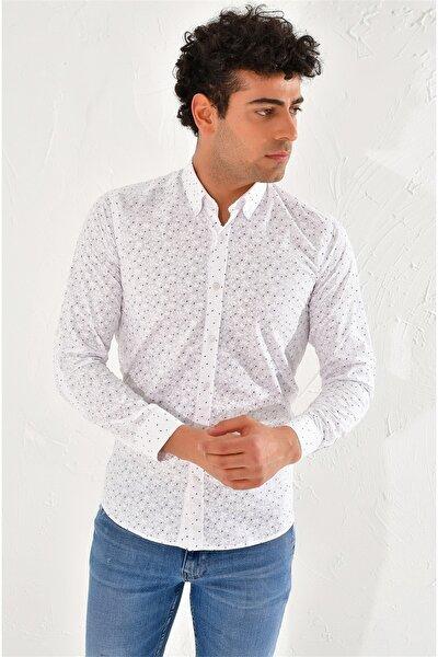 Gk 593 Slim Fit Beyaz-bordo Klasik Gömlek