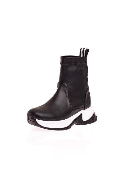 Siyah Streç Kadın Spor Ayakkabı