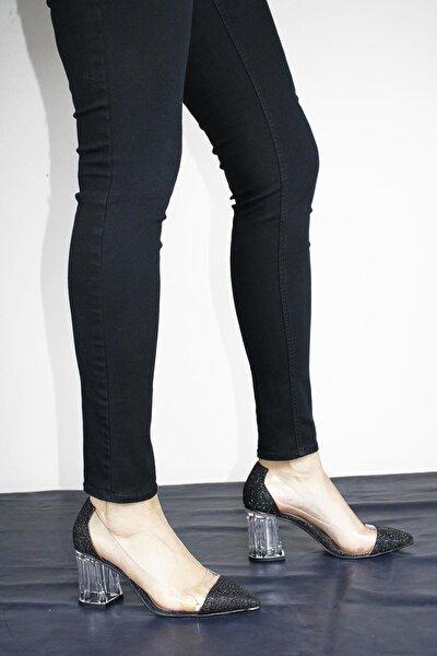 Kadın Şeffaf Detaylı Cam Ökceli Topuklu Ayakkabı