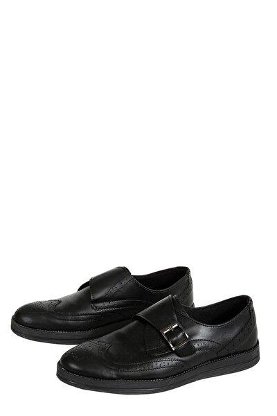 Siyah Önü Kemer Tokalı Düz Taban Desenli Erkek Ayakkabı