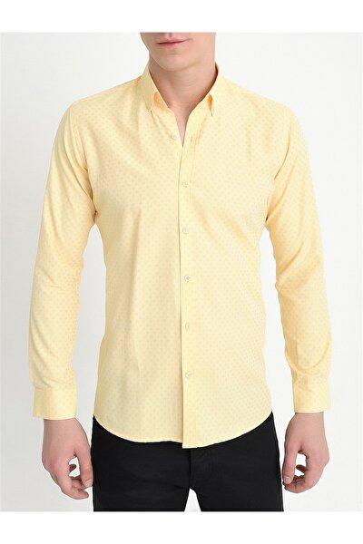 Gk 559 Slim Fit Sarı Klasik Gömlek