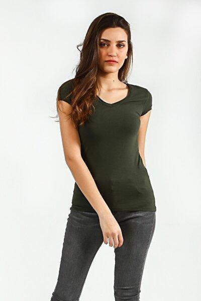 Kadın Haki V Yakalı Kısa Kollu Basic T-Shirt
