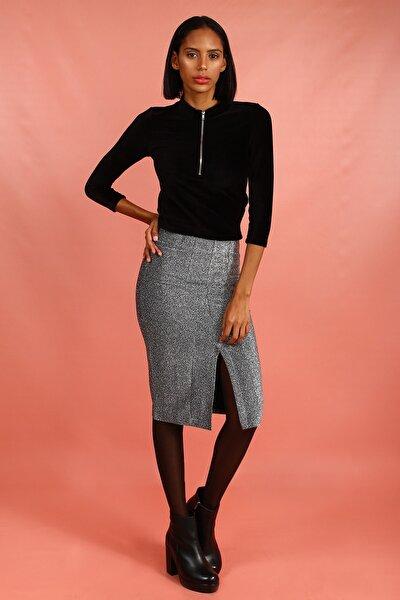 Kadın Siyah Önü Fermuar Detaylı Bluz