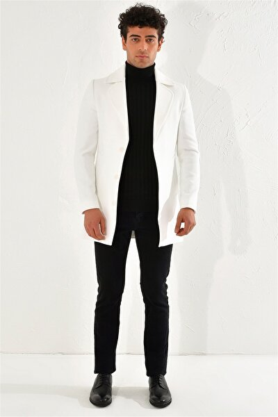 Plt 063 Slim Fit Beyaz Klasik Palto