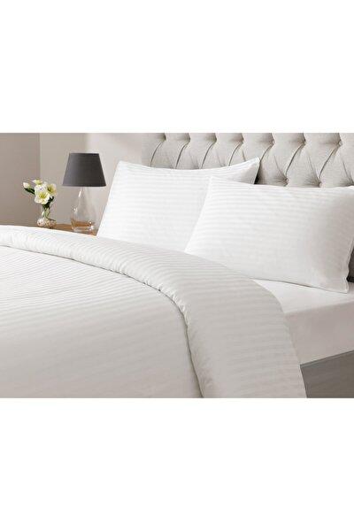 White Collection Saten Çizgili Çift Kişilik Nevresim Takımı 200x220 Cm Beyaz