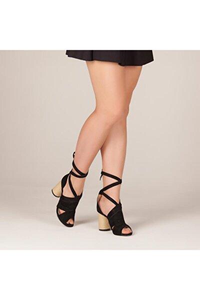 Süet Siyah Hasır Topuklu Kadın Sandalet - B24.8501