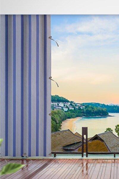 380x250 Balkon Perdesi Balkon Brandası Mavi Ince Çizgi Bağcıklı