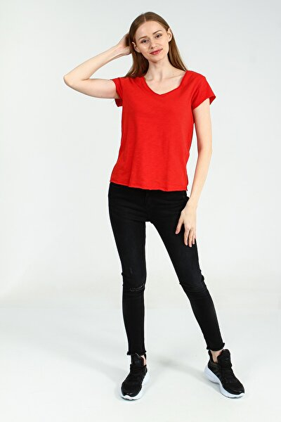 Kadın Kırmızı V Yakalı Kısa Kollu Basic Tshirt