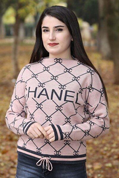 Kadın Pembe Chanel Kısa Kazak