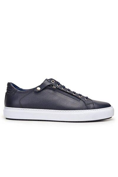 Hakiki Deri Lacivert Sneaker Erkek Ayakkabı -9855-