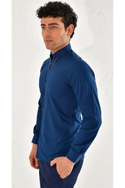 Gk 566 Slim Fit Lacivert Klasik Gömlek