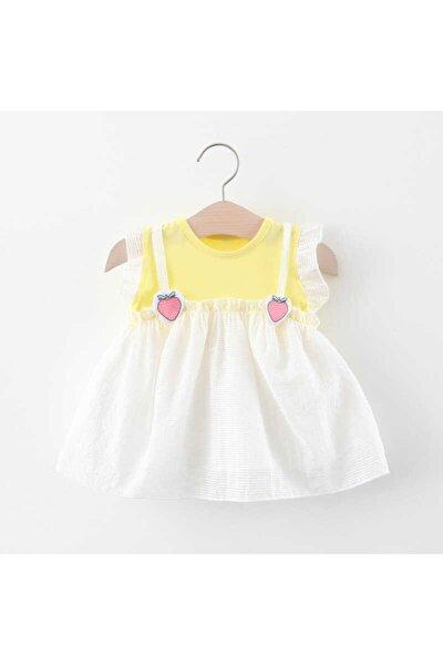 Çilek Detaylı Sarı Tül Elbise