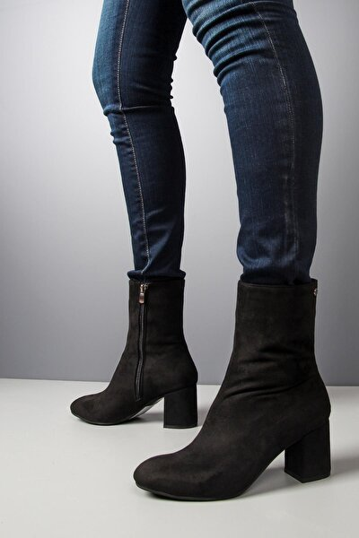 Orta Topuklu Siyah Süet Kadın Bot