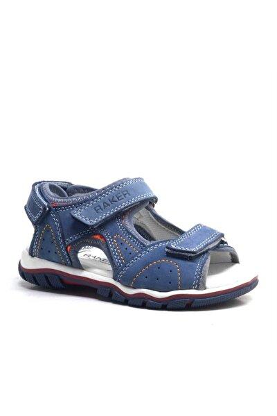 Hakiki Deri Mavi Cırtlı Erkek Çocuk Sandalet