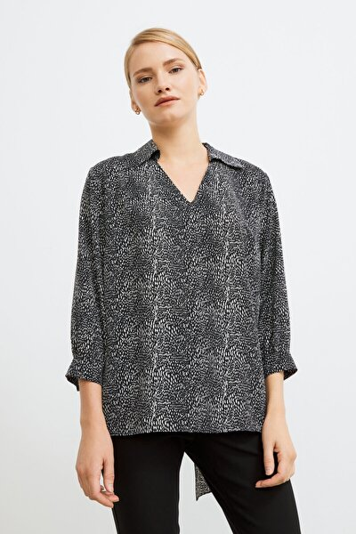 Kadın Siyah V Yaka Desenli Viskon Bluz
