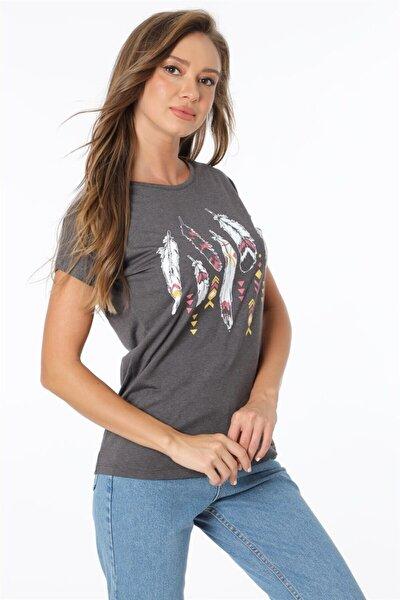 Tüy Baskılı Tshirt - Antrasit