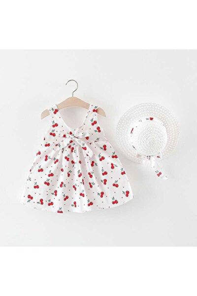 Kırmızı Kiraz Detaylı Beyaz Elbise Ve Şapka 2'li Set