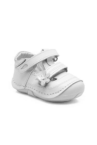 Tom Bebek 103 Ortopedik Hakiki Deri Kız Ilkadım Ayakkabısı Beyaz