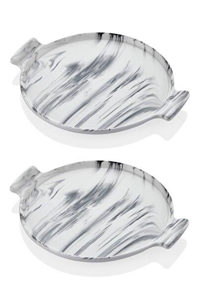 Mermer Görünümlü 2li Servis Sunum Tabağı 26 Cm