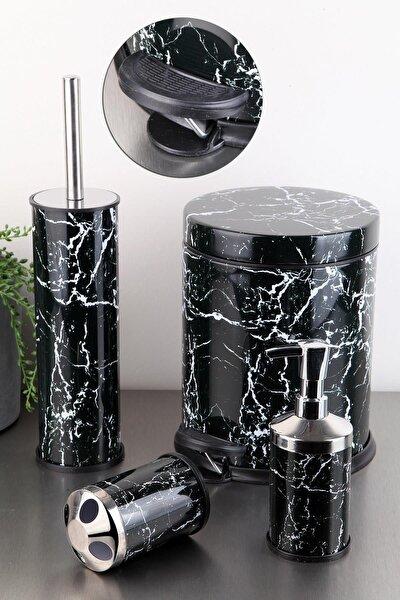 Vıpgross 4 Lü Metal Banyo Seti Siyah