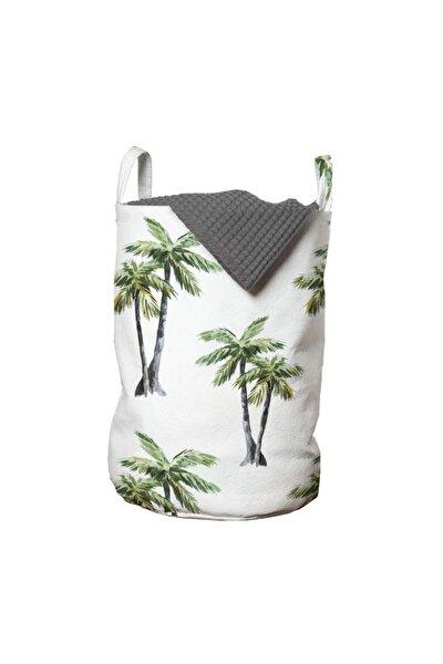 Doğa Çamaşır Sepeti Koyu Renk Gövdeli Palmiyeler Ve Yaprakları