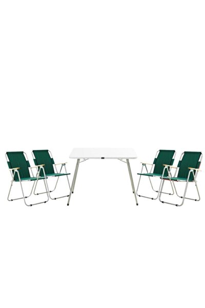 Yeşil 4 Ağaç Kollu Piknik Sandalye Ve Granit Beyaz 60x80 Piknik Masa