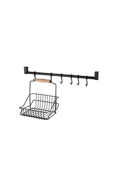 T- Asmacık Krom 6 Lı Retro Mutfak Tezgah Arası Askı Seti