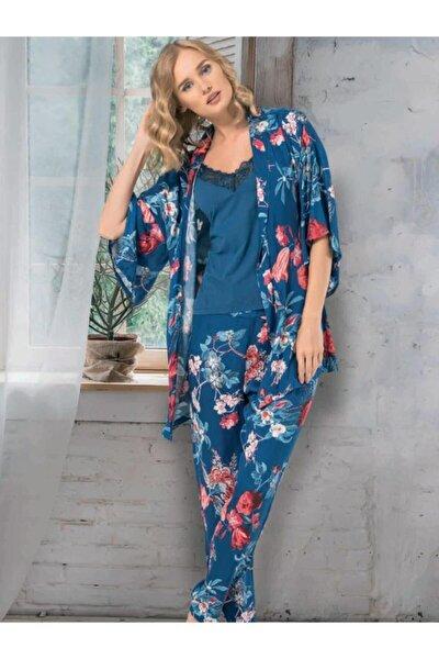 Dokuma 3'lü Set Kadın Pijama Takımı 66635
