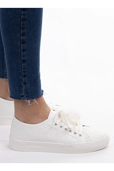 Kadın Beyaz Kroko Desenli Sneaker Spor Ayakkabı