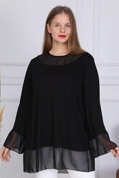 Kadın Büyük Beden Şifon Detaylı Viskon Tunik Bluz