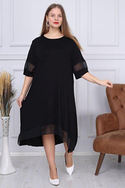 Kadın Büyük Beden Kol Ve Etek Ucunda Şifon Tül Detaylı Viskon Büyükbeden Elbise