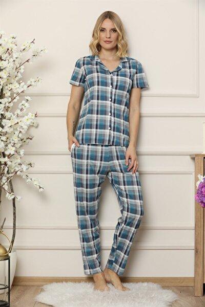 Kareli Önden Düğmeli Kısa Kollu Pijama Takım