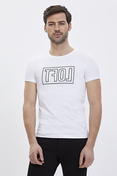 Erkek Slim Fit Baskılı Beyaz T-shirt Lf2023619