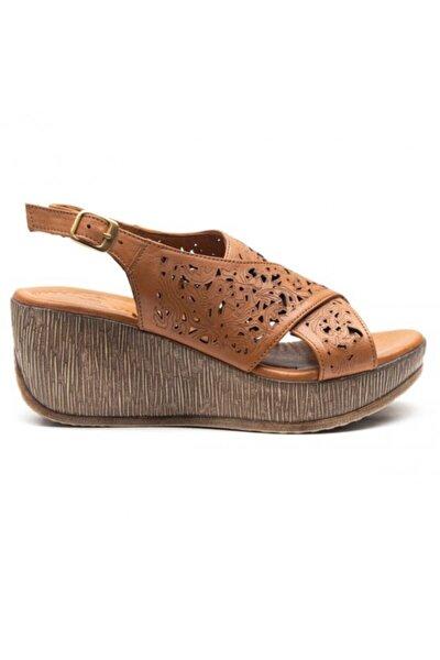 Hakiki Deri Yüksek Taban Anatomik Kadın Sandalet 2014402
