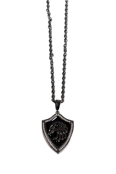 Gümüş Kaplama Kartal Zirkon Taşlı Kolye Beyaz Renk 00409