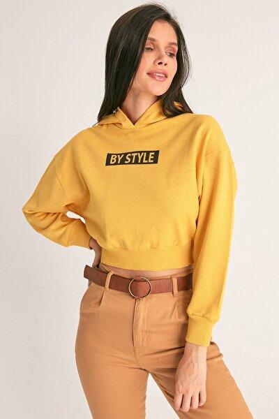 Baskılı Kısa Sweatshirt