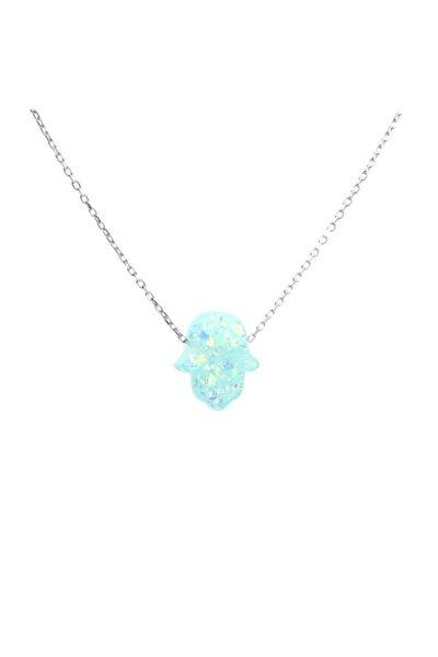 925 Ayar Gümüş Opal Taşlı Fatma Ana Eli Kolye