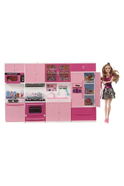 Barbie Bebek Ve 4'lü Mutfak Seti Işıklı Sesli Tüm Kapakları Açılır Kapanır